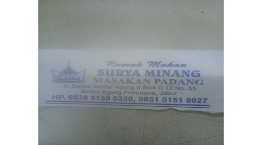 Menu & Review R. M Surya Minang - Sunter Agung